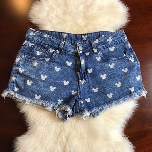 Disney Mickey Mouse Denim Cut Off Shorts